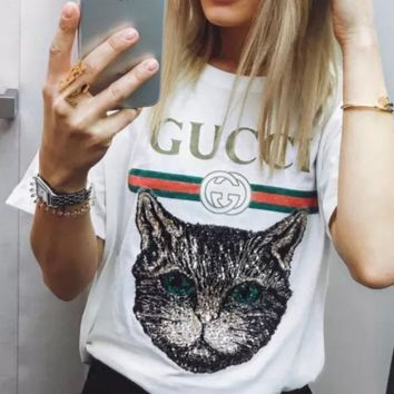 GUCCI Catwalk T-Shirt Embroidery Sequin Cat Shirt Tunic Blouse Trending Top