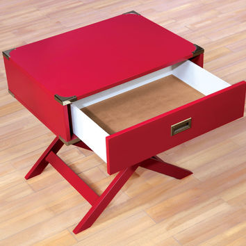 Furniture of america CM-AC801RD Goodyear red finish wood chair side table with drawer