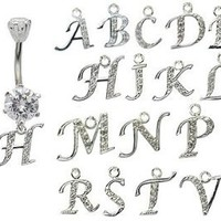 dangle belly button rings initial H © GlitZ JewelZ - laser cut CZ crystals - surgical steel 316L - bar length 3/8 inch (10mm) - many alphabets available - gently packed in a lovely velvet pouch