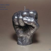 Hand Fist Sculpture Candle - Power Fist (Cosmic Silver) - Modern Decor - Anatomy Art - Anatomy Decor - Hand Art - Surreal