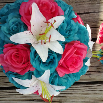 17 Piece Wedding Package, 22 Rose Colors, Coral Bouquet, Coral Turquoise Bouquet, Beach Bouquet, White Lily bouquet, Beach Wedding