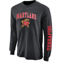 Maryland Terrapins Arch & Logo Long Sleeve T-Shirt - Charcoal