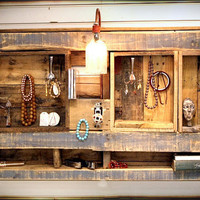 Rustic Wall Shelf Display Organizer with electric by RustedCreek