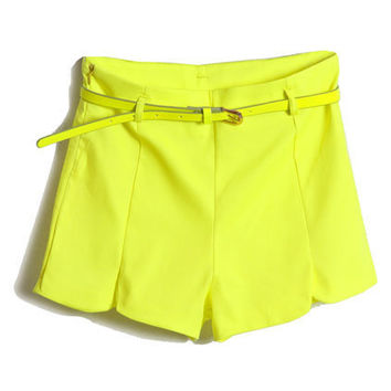 With Belt Fluorescent Yellow Shorts [NCSPM0257] - $26.99 :