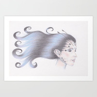 Wood Nymph Butterfly Girl Art Print by Drawings by LAM