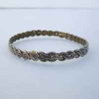 Mexican Sterling Silver Bangle Bracelet Braided Design Vintage Jewelry