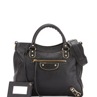 Metallic Edge Classic Velo AJ Bag, Matte Black - Balenciaga