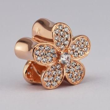 Fits For Pandora Bracelets Dazzling Daisy Charms with Rose Gold Color 100% 925 Sterlin