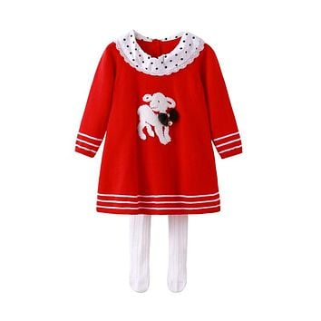 Auro Mesa vestido infantil Christmas Long Sleeve Baby Knitted Dress Dog Princess baby dress baby girl knit clothes
