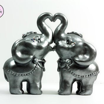 Indian Elephant Wedding Cake Toppers - Silver with Swarovski Crystals - Ornately Decorated - Ready to Ship Original Sculptures