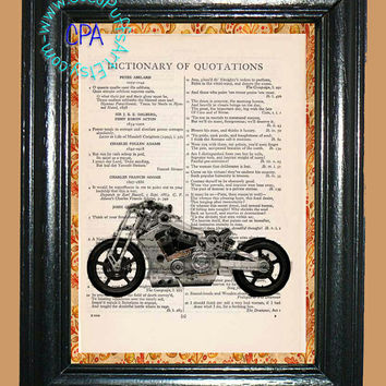 Steampunk Silver Motorcycle Art - - Vintage Dictionary Book Page Art-Upcycled Page Art,Wall Art, Home Decor,Collage Art,Mixed Media Art