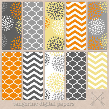Tangerine yellow orange chevrons quatrefoil and flowers Digital paper pack. Perfect for scrapbooking printing graphic design backgrounds etc