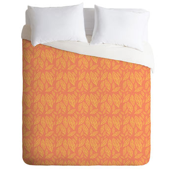 Allyson Johnson Fall Leaves Pattern Duvet Cover