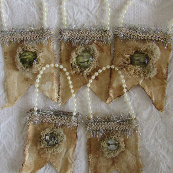 Set of 8 Coffee Dyed Canvas Flags Reindeer Moss Vintage Victorian Tinsel Christmas Ornaments