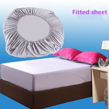 Solid Color Brushed Microfiber Fabric Polyester Mattress Cover Fitted Sheet Set Bed Cover  with Elastic