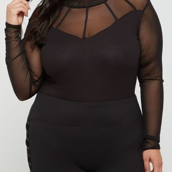 Plus Strapped Mesh Bodysuit | Plus Bodysuits | rue21