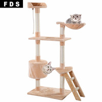 "New 60"" Cat Tree Tower Condo Scratcher Furniture Kitten Pet House Hammock Beige."