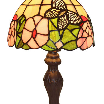 Tiffany Style Floral Mini Table Lamp 15 In