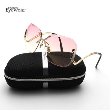 BOUTIQUE Women Oversized Rimless Sunglasses Cutting Lens Unique Sun Glasses Gradient Clear Lens H1883