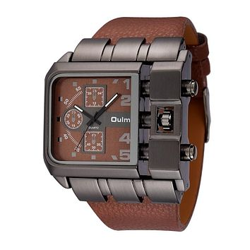 Square Wide Dial Leather Watch