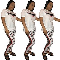 Fendi Summer Fashion New More Letter Print Sports Leisure Top And Pants Two Piece Suit White
