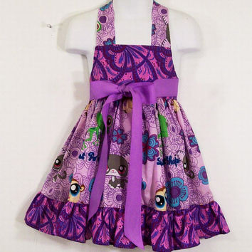 Apron-Girls Full Apron--Lavender Pet Shop Ruffled Apron--Made in the USA