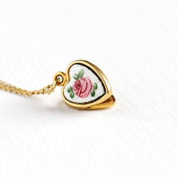 Vintage Guilloche Flower Locket Necklace - Enamel Gold Filled Mid Century 1940s Pink White Green Rose Floral Charm Children's Petite Jewelry