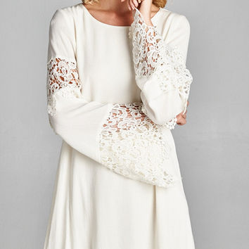 Crochet Sleeve Tunic Dress - Natural