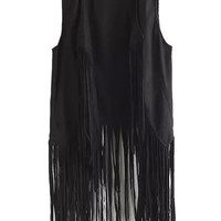 Black Tassel Detail Waist Coat