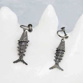 Vintage Sterling Fish Earrings Articulated Koi Jewelry E6254