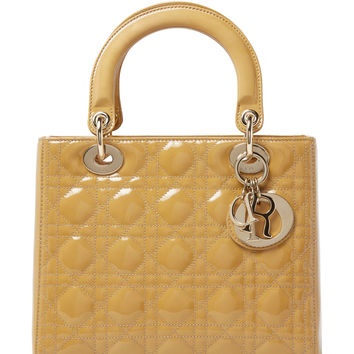 Christian Dior Women's Beige Cannage Quilted Patent Lady Dior Medium