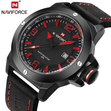 NAVIFORCE NF9077B Military Quartz Analog Leather Sports Watch