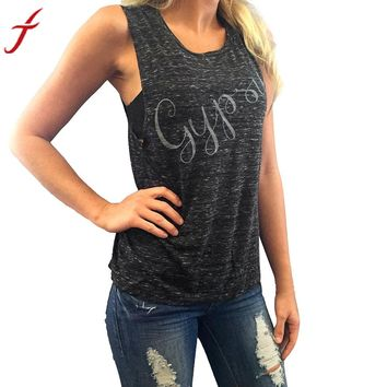 Summer T-shirt Women GYPSY Letters Pattern Sleeveless Cropped feminino Black Shirt Tops fitness women