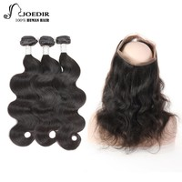 Joedir Pre-Colored Bundles With 360 Frontal Closure Remy Brazilian Body Wave 3 Bundles Human Hair Weave Bundles Free Shipping