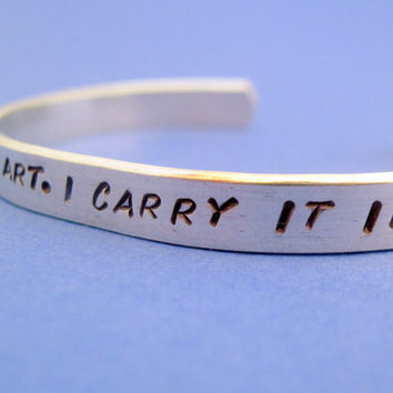 EE Cummings Bracelet - I Carry Your Heart - 2-Sided Hand Stamped Aluminum Cuff - customizable