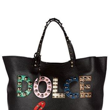 Dolce&Gabbana women's leather handbag shopping bag purse beatrice black