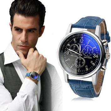 Mens Luxury Fashion Faux Leather Blue Ray Glass Quartz Analog Watches