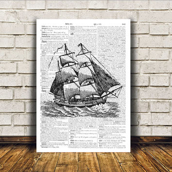 Dictionary print Modern decor Nautical art Ship poster RTA387