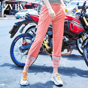 New European Station Sequins Leisure Pants Fashionable Loose Mesh Stitching Pants, Pants, Trousers and Chao Brand Women's Wear in Summer of 2019