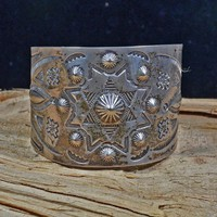Native American Navajo Wide Star Cuff