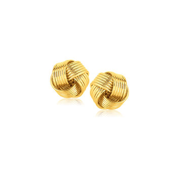 Industrial Design Love Knot Stud Earrings in 14k Yellow Gold
