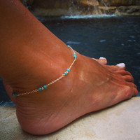 Diana Luxe Anklet, Turquoise Anklet, Gold Anklet