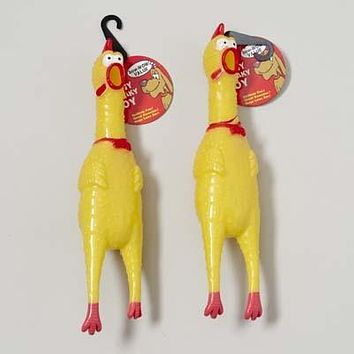 Vinyl Squeaker Chicken Dog Toy - 48 Units