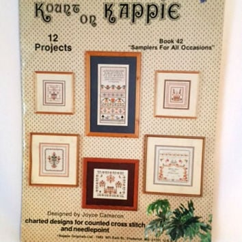 Samplers for All Occasions Cross Stitch Pattern Needlepoint 12 Projects Alphabet Border Autumn Christmas Wedding Kappie Book 42 Vintage 1982