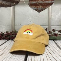 RAINBOW Baseball Hat Low Profile Embroidered Baseball Caps Dad Hats Burnt Yellow