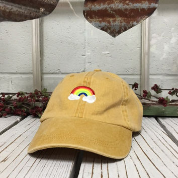 6674886be19db RAINBOW Baseball Hat Low Profile Embroidered Baseball Caps Dad Hats Burnt  Yellow