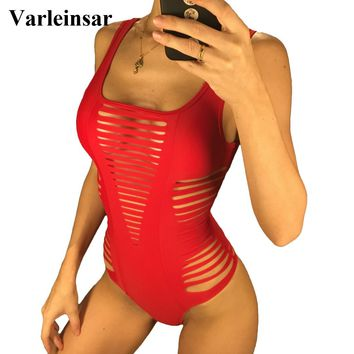 Black Red Rose Pink Sexy Hollow Cut Out 2018 Swim Suit For Women Swimwear One Piece Swimsuit Female Bather Bathing Suit V167