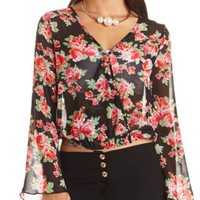 Floral Print Double Surplice Bell Sleeve Top
