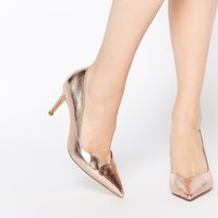 Dune Alessia Rose Gold Sweetheart Heeled Court Shoes