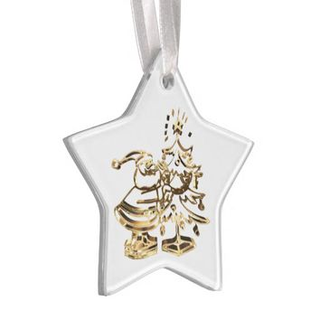 Santa decorating the Christmas Tree Gold Elegant Ornament